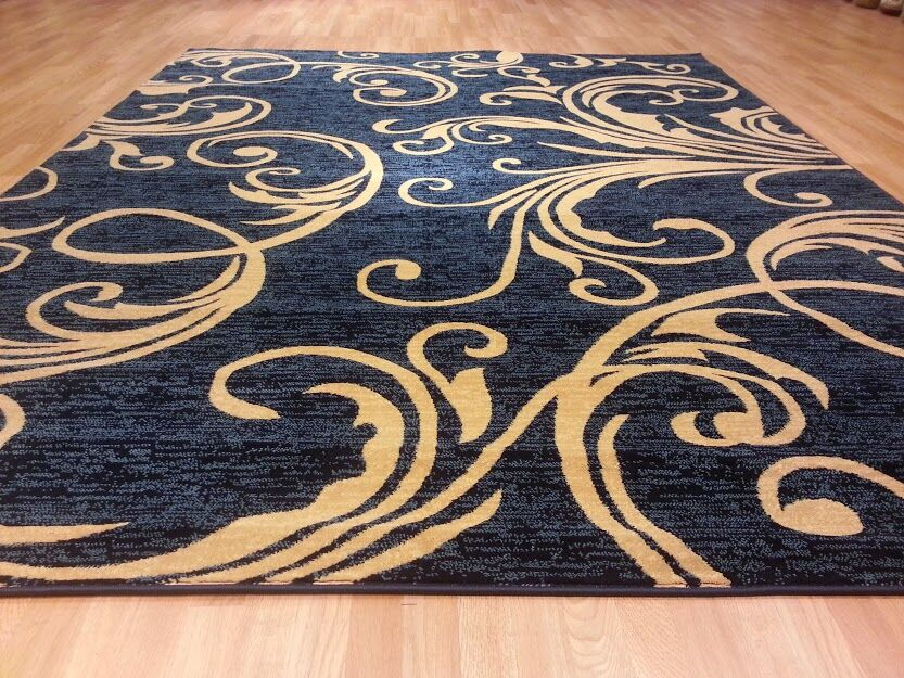 Blue/Brown Area Rug Rug Size: Round 8'