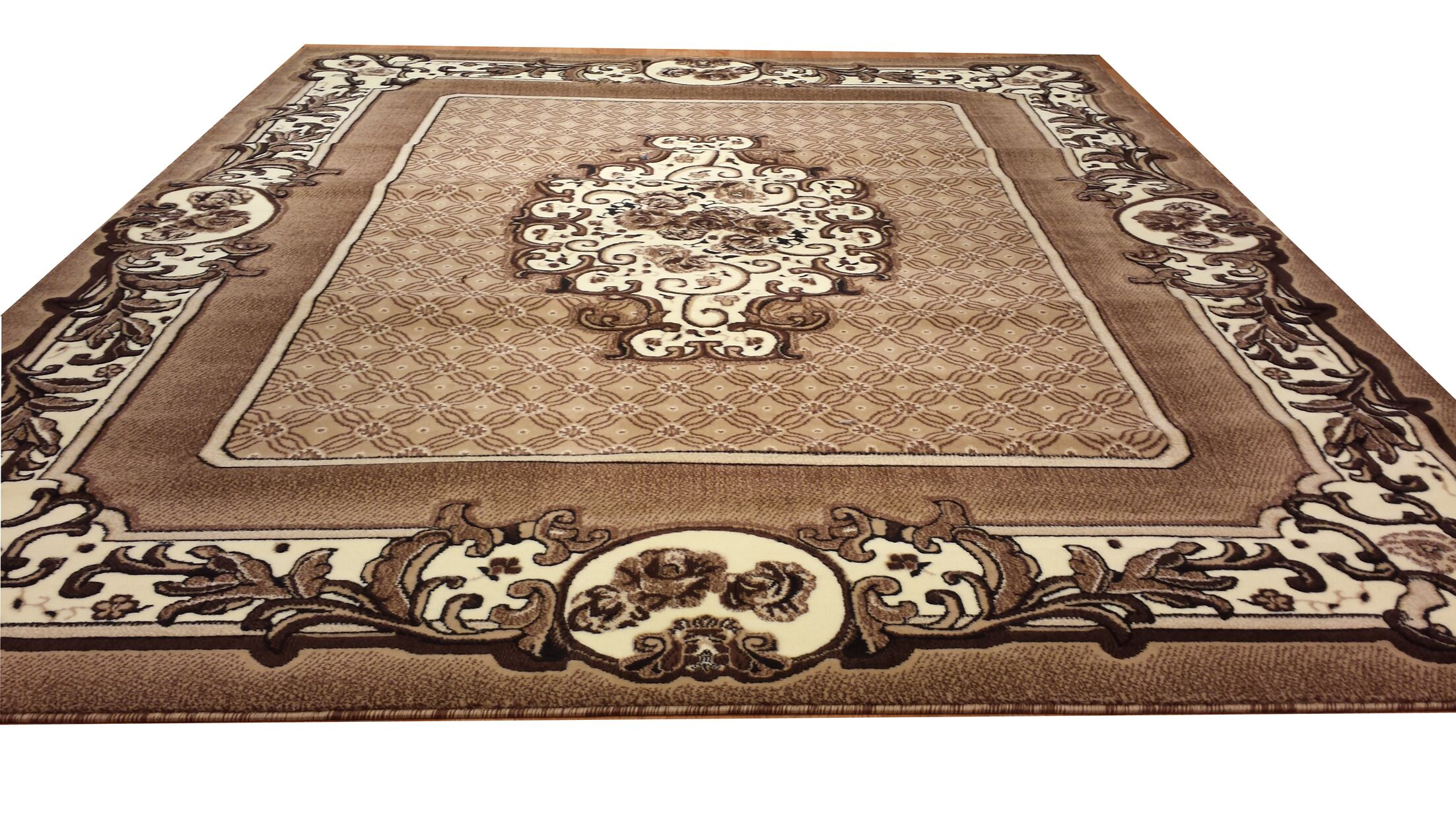 Hand-Carved Beige Area Rug Rug Size: Rectangle 10' x 13'