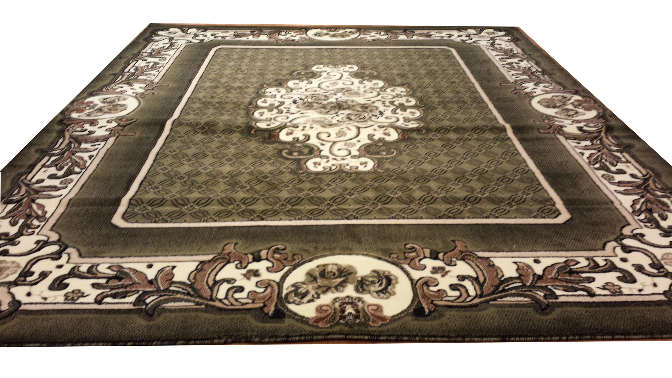 Hand-Carved Green Area Rug Rug Size: Round 8'