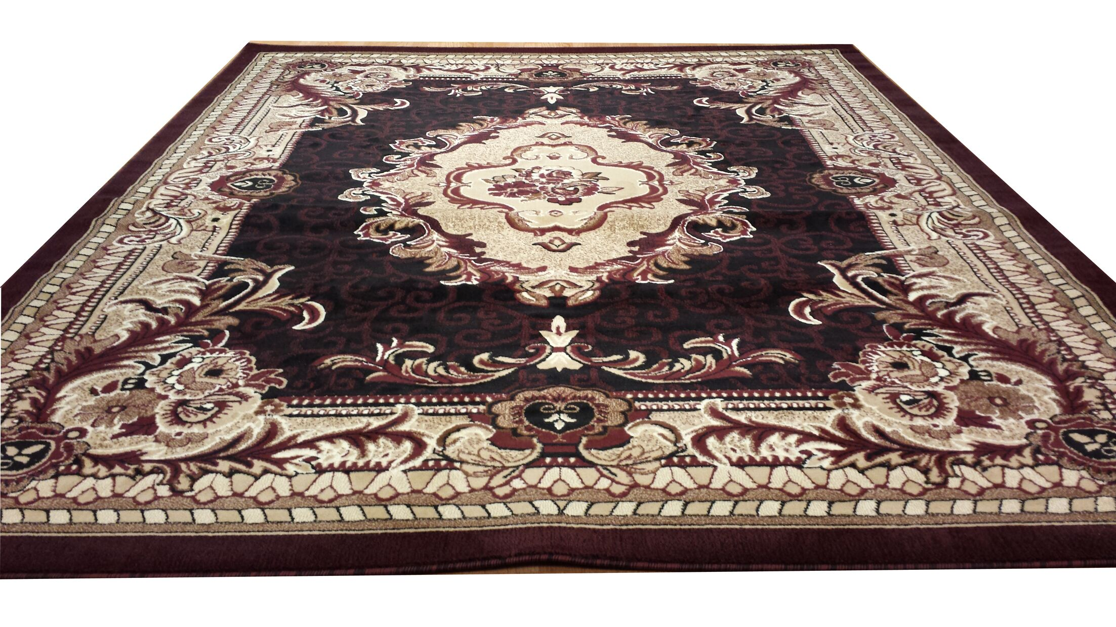 Hand-Carved Red Area Rug Rug Size: Rectangle 10' x 13'