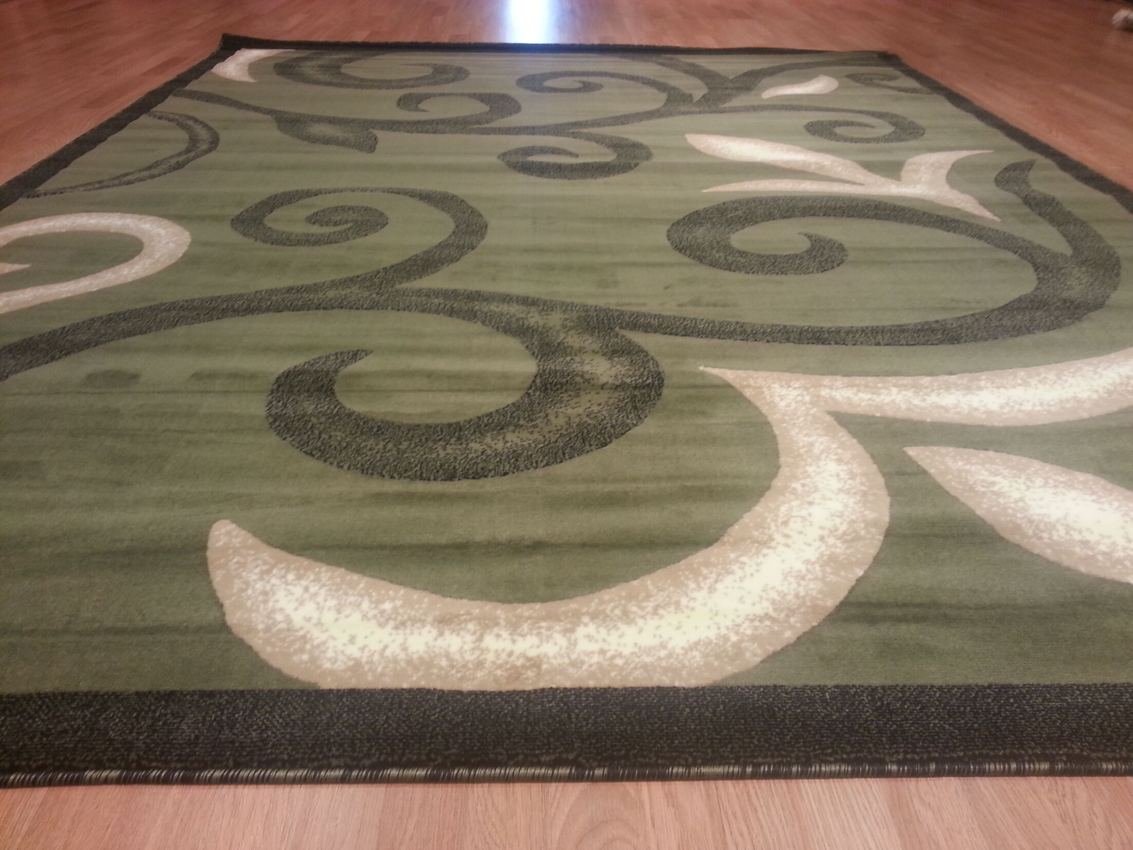Hand-Carved Green Area Rug Rug Size: Runner 2' x 7'2
