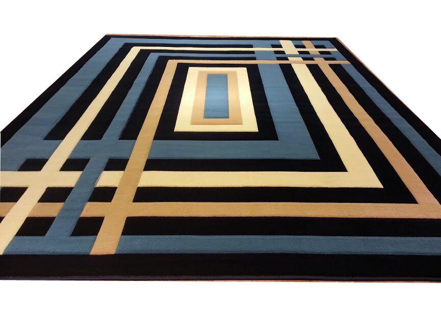 Hand-Carved Blue/Beige Area Rug Rug Size: Rectangle 10' x 13'