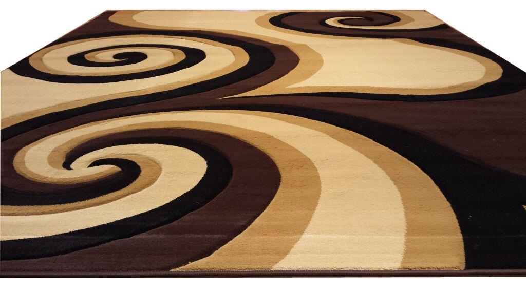 Hand-Carved Black/Brown/Beige Area Rug Rug Size: Round 8'
