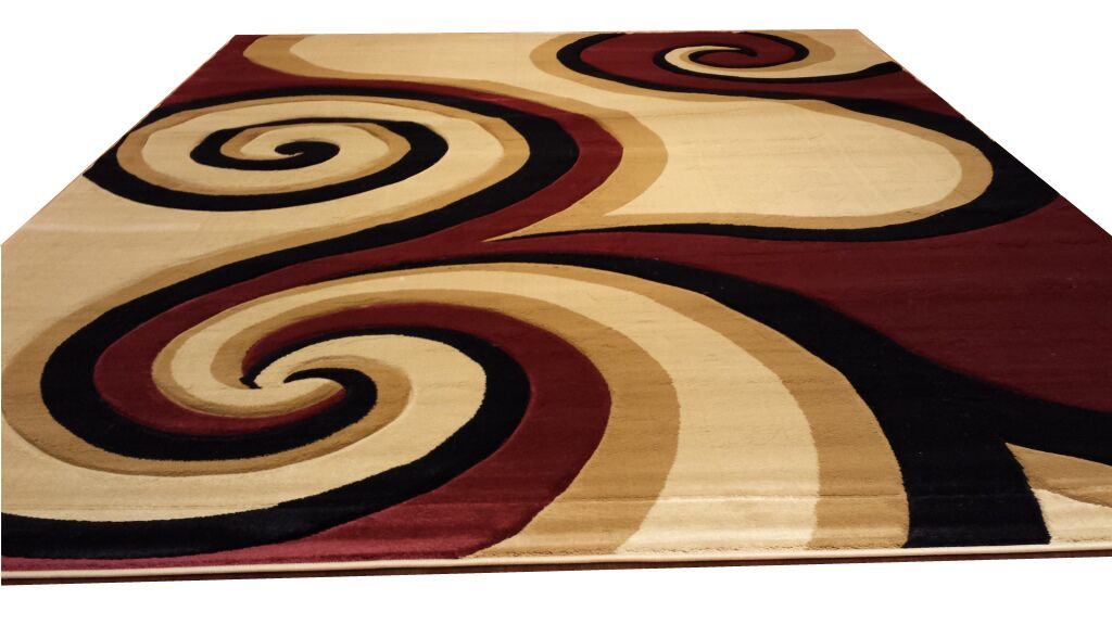 Hand-Carved Red/Black/Brown Area Rug Rug Size: Rectangle 7'11