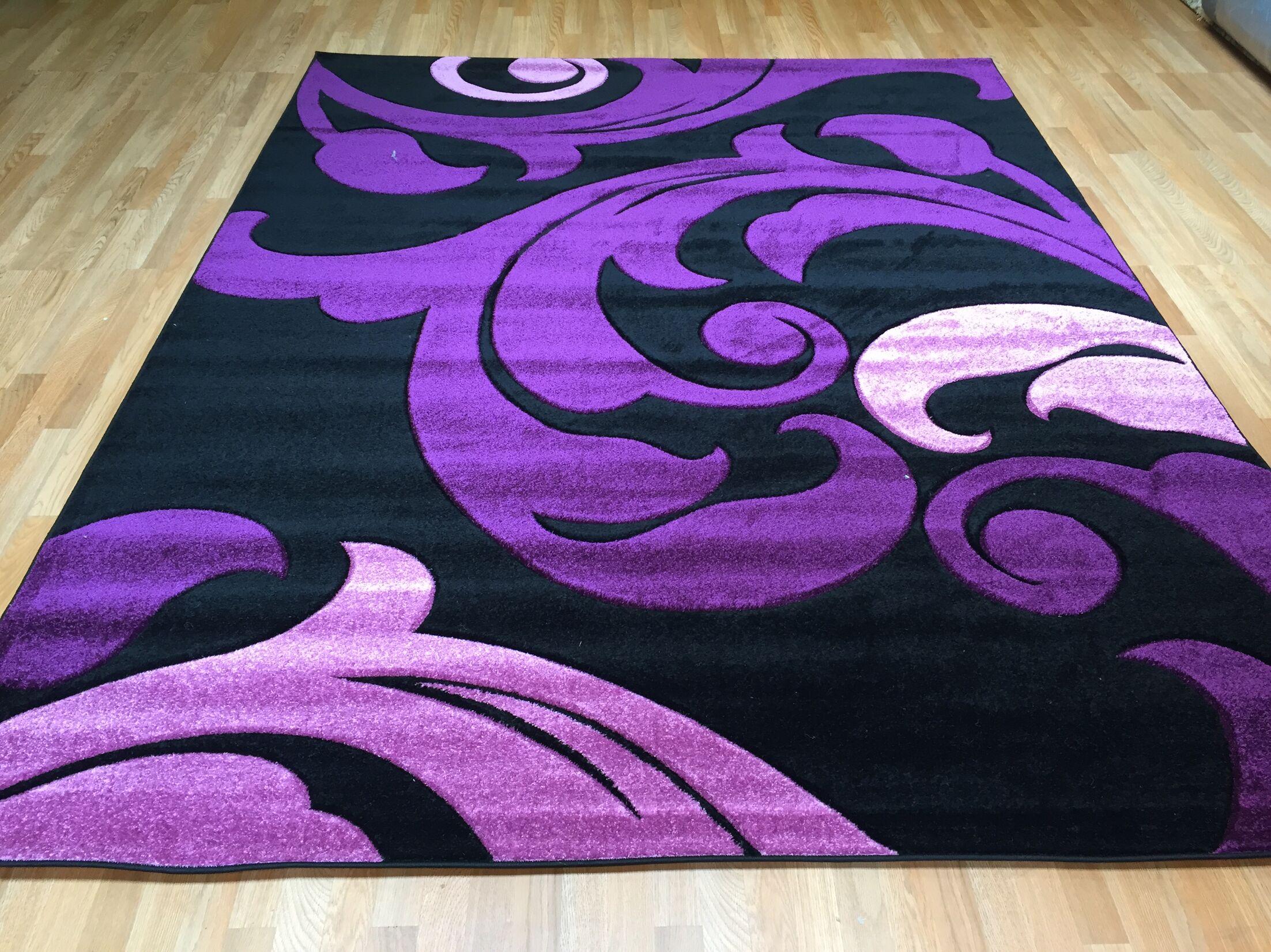 Hand-Carved Purple Area Rug Rug Size: 7'11