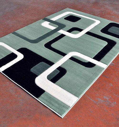 Light Green/Black Area Rug Rug Size: 5'3