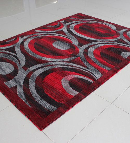 Red/Black Area Rug Rug Size: 5'3