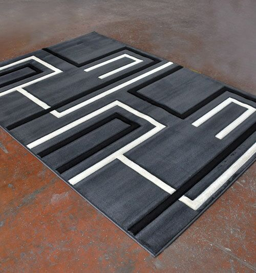 Antracite/Black Area Rug Rug Size: 5'3