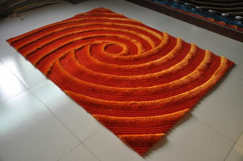 Orange Area Rug Rug Size: 5'3