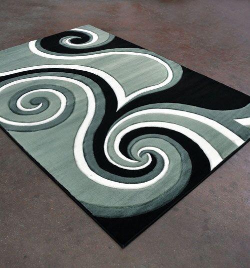 Light Green/Black Area Rug Rug Size: 7'11