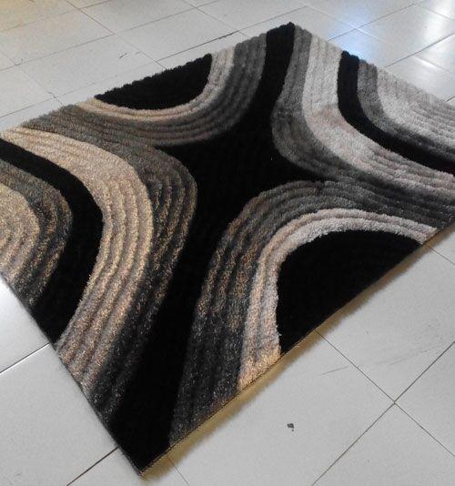 Black Area Rug Rug Size: 5'3