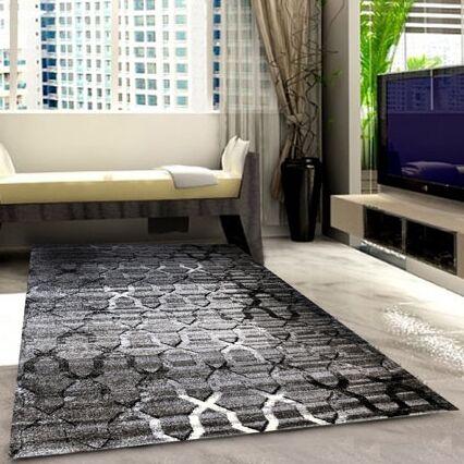 Black/Grey Area Rug Rug Size: 7'11