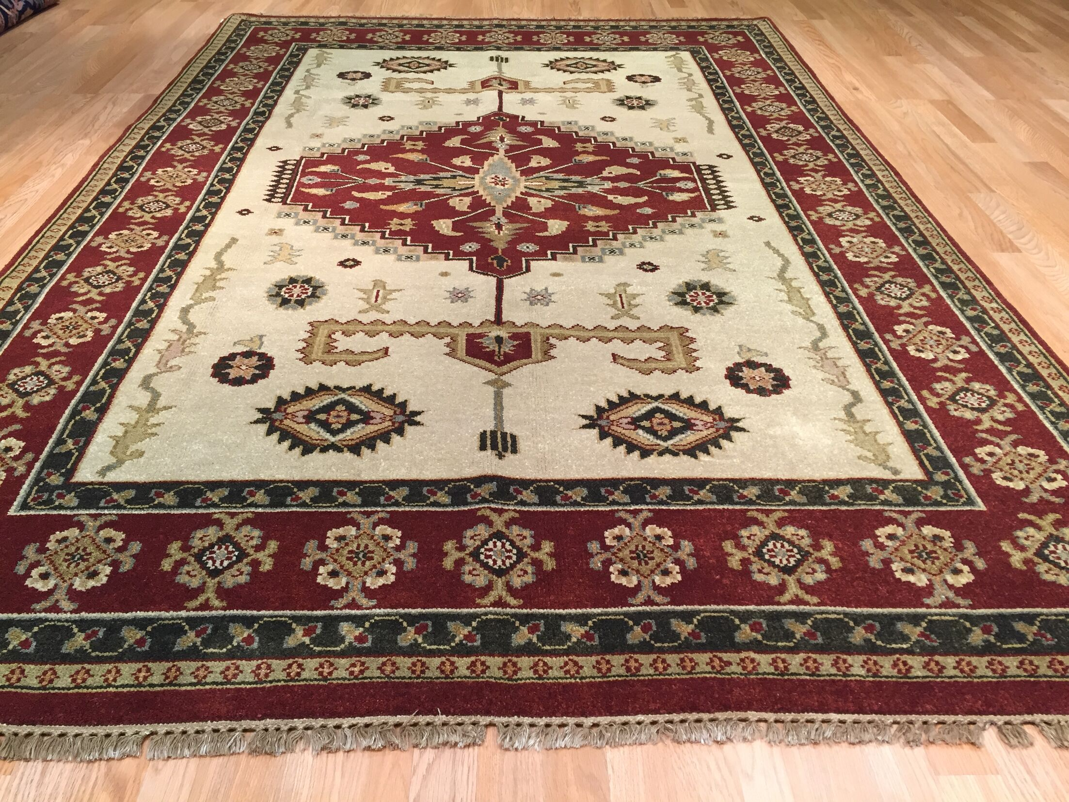 Indo Kazak Hand-Knotted Beige/Red Area Rug