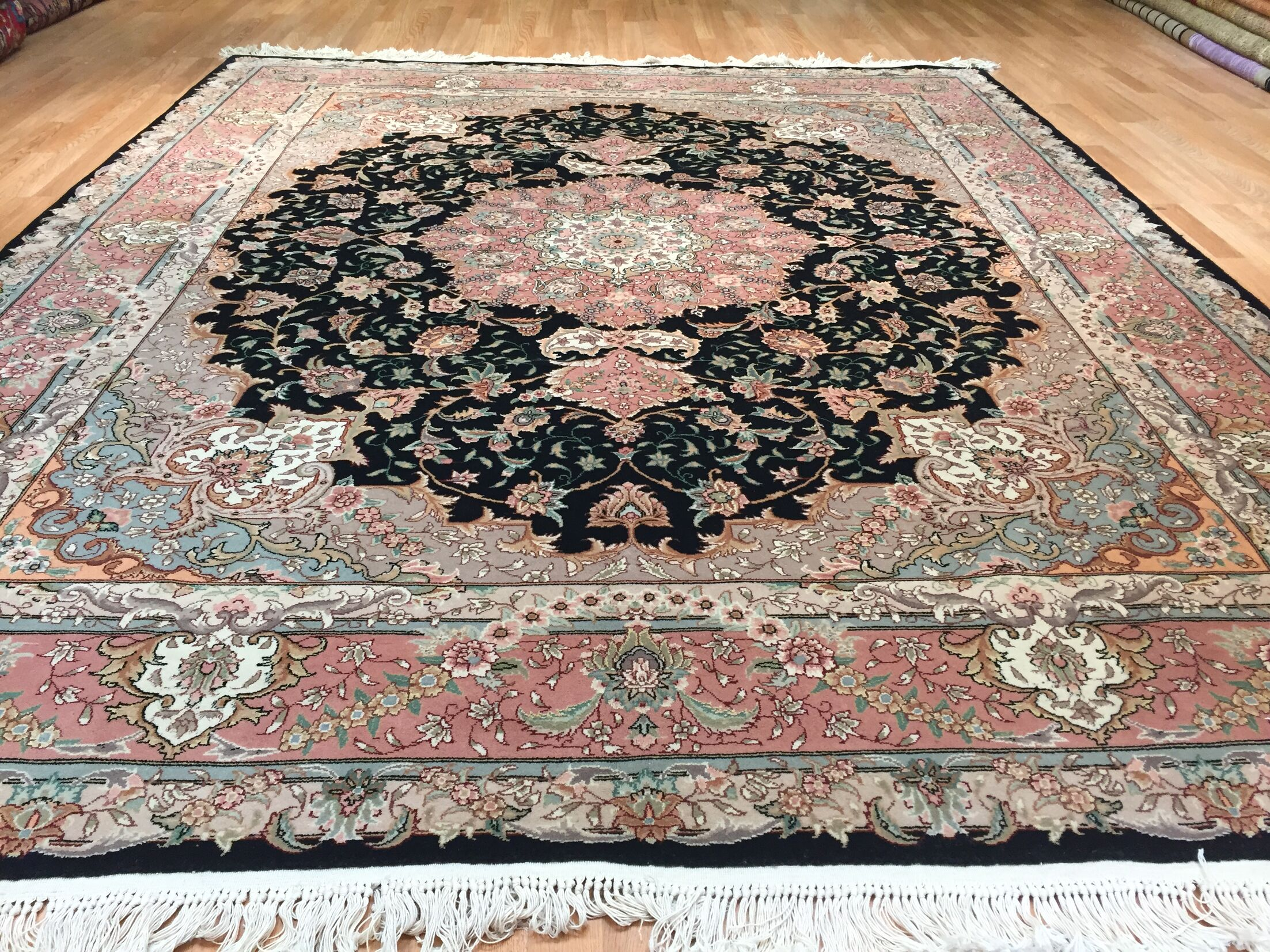 Lutz Hand-Knotted Black/Pink Area Rug