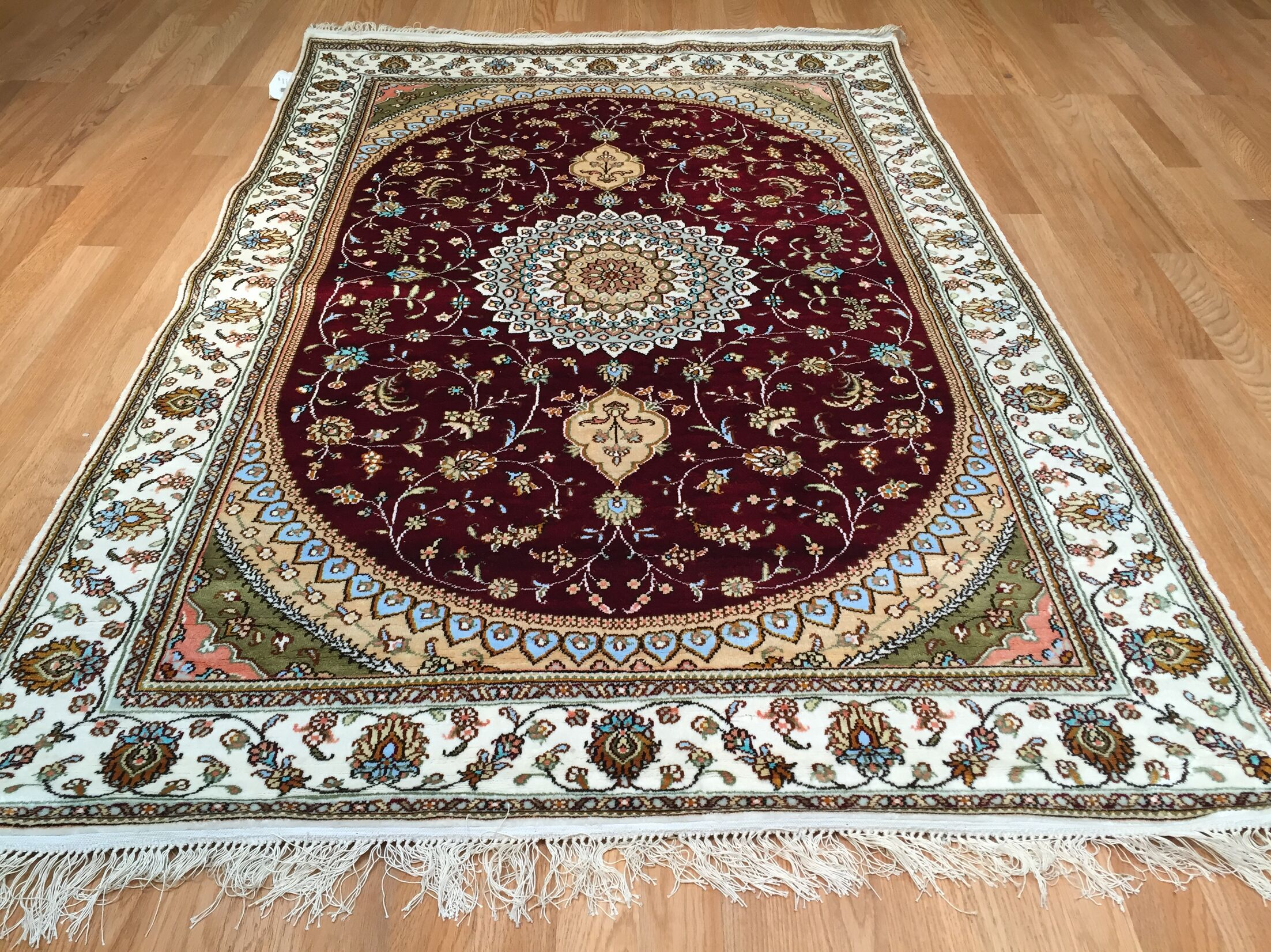 Qum Silk Hand-Knotted Red Area Rug