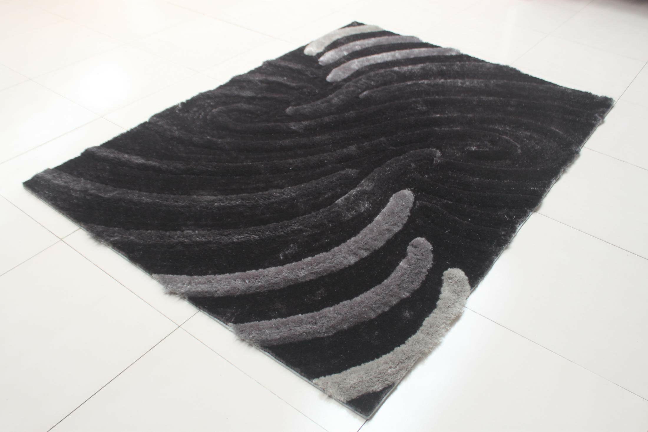 Deija Black/Gray Area Rug Rug Size: 7'11