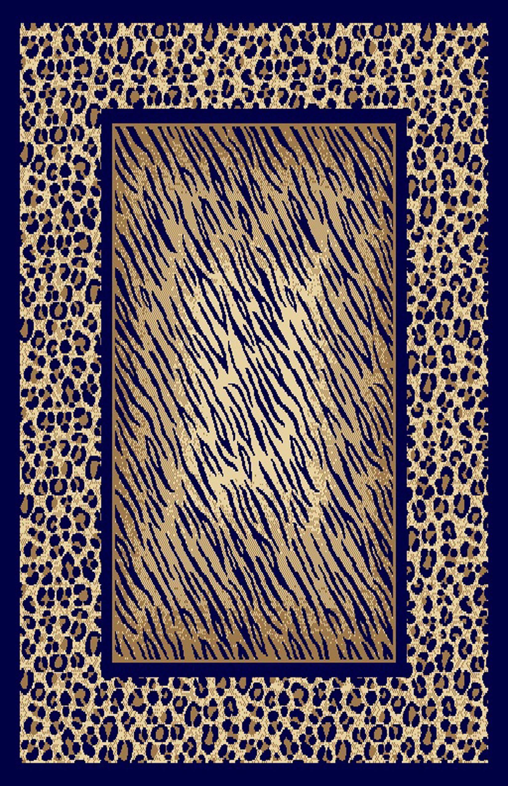 Dianna Navy Blue/Beige Area Rug Rug Size: 7'11
