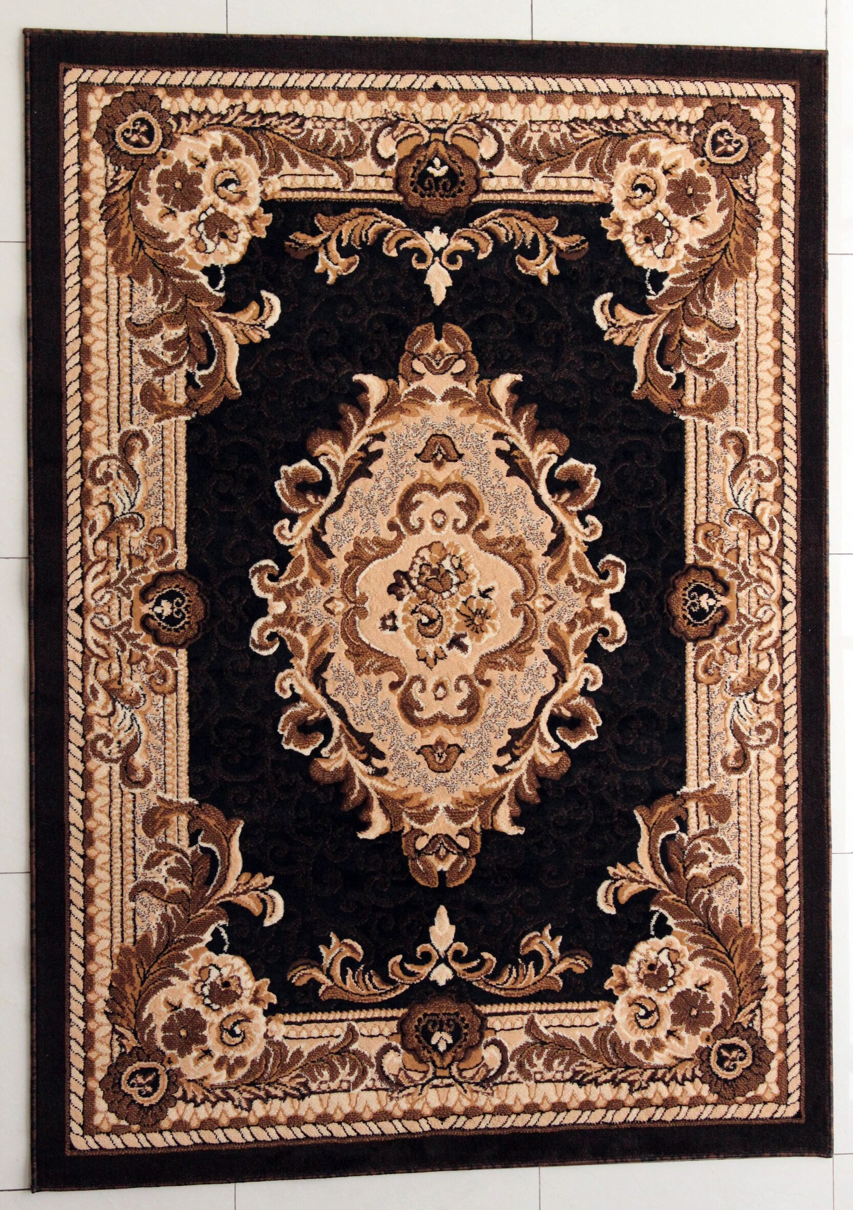 Pilkington Black Area Rug Rug Size: 5'3