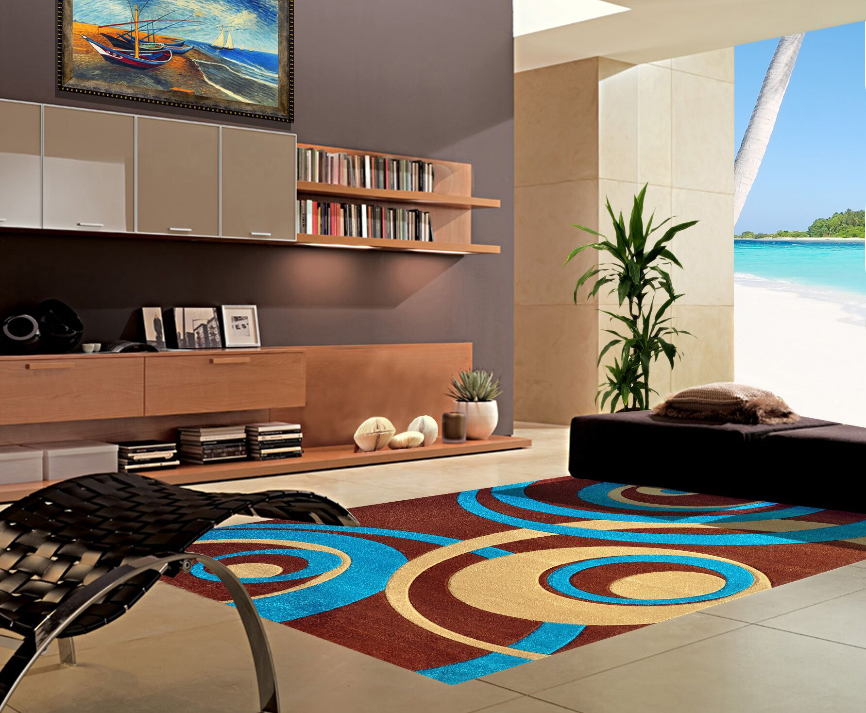 Melfa Turquoise/Brown Area Rug Rug Size: Runner 2'7