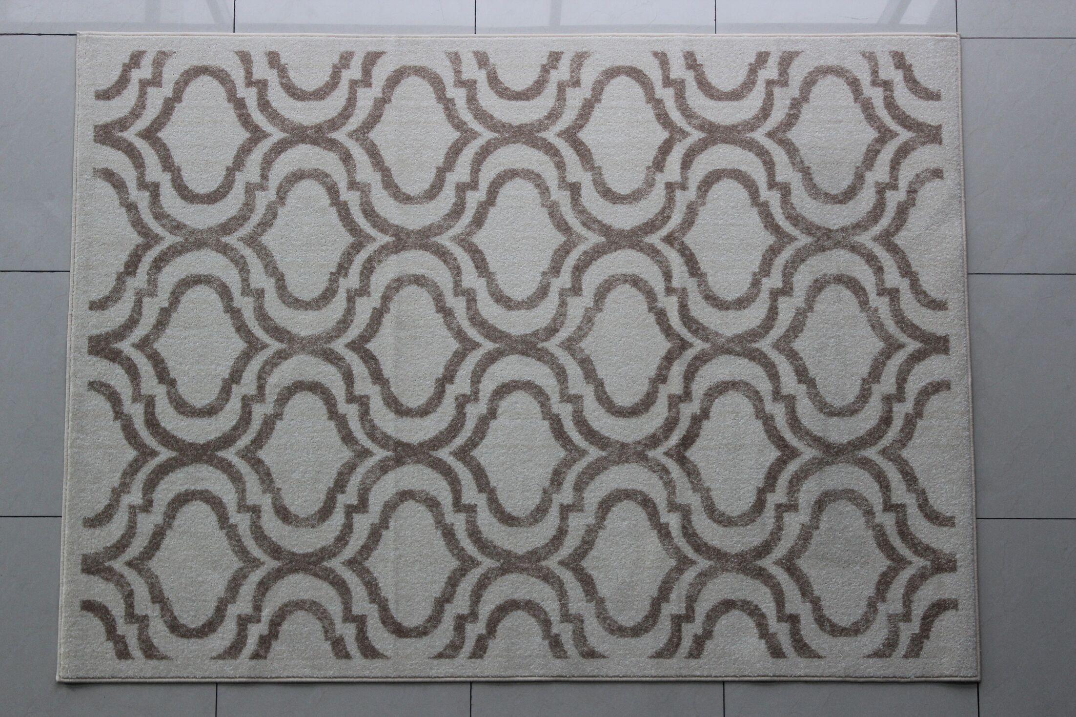 Rosser Gray/White Area Rug Rug Size: 4' x 6'