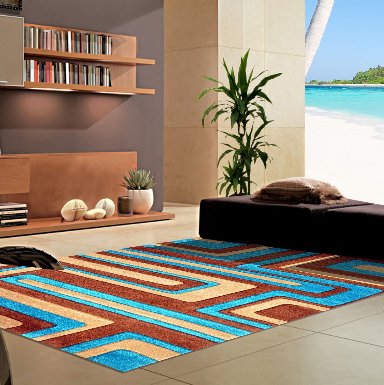 Melfa Contemporary  Abstract Brown/Blue Area Rug Rug Size: Runner 2'7