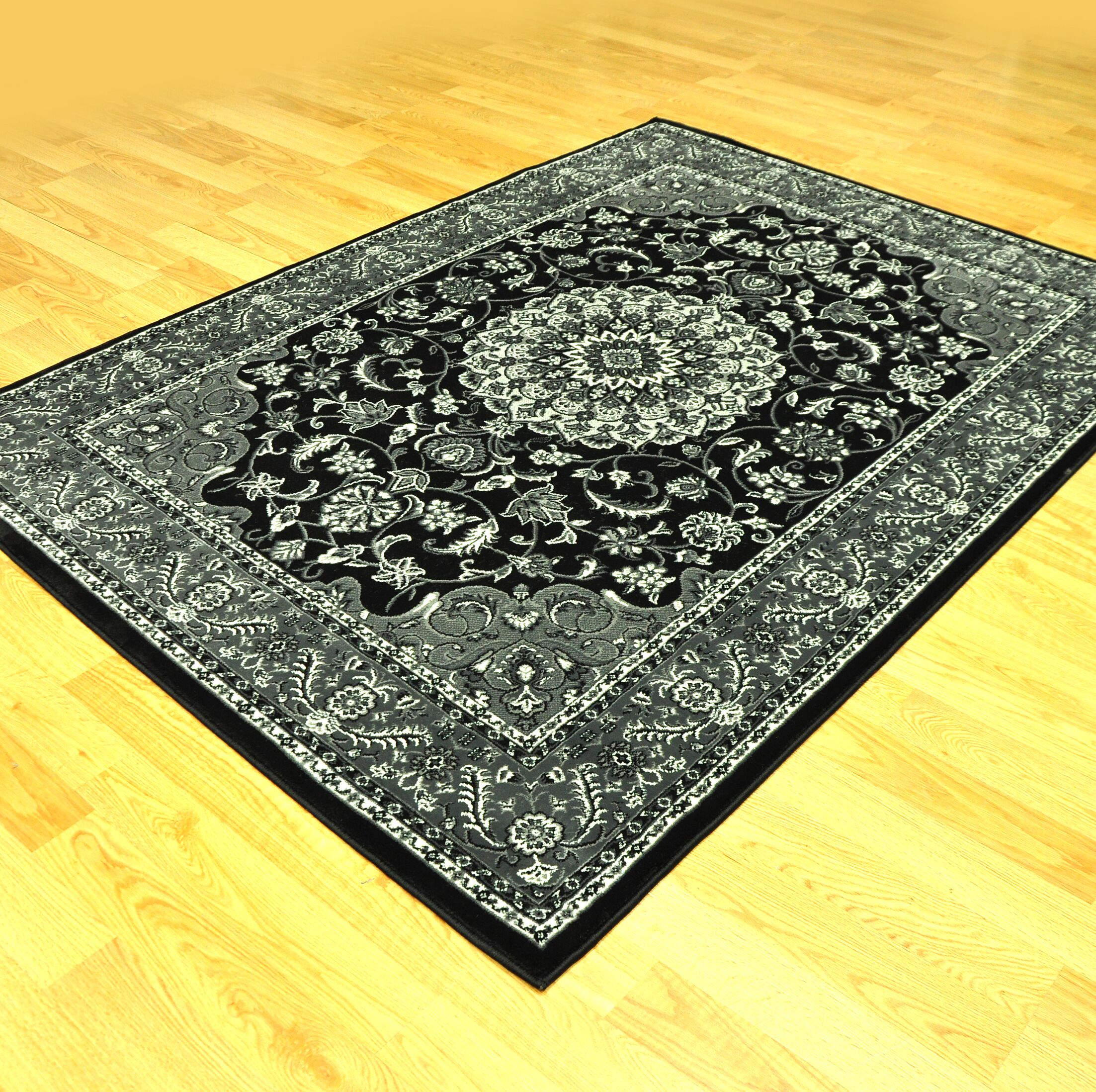 Zoel Traditional Black/Gray Area Rug Rug Size: Runner 2'7