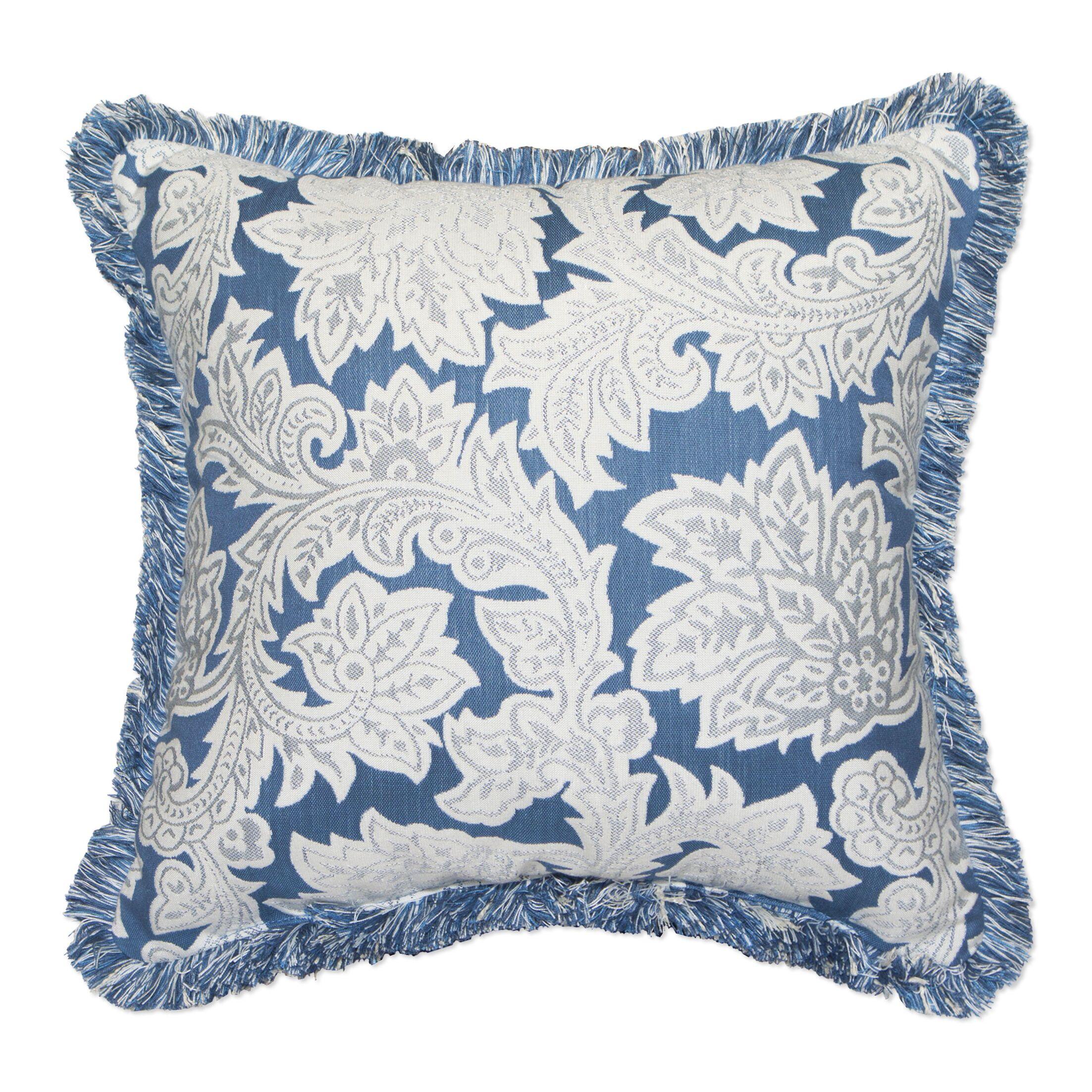 Jacobean Spring Throw Pillow with Fringe