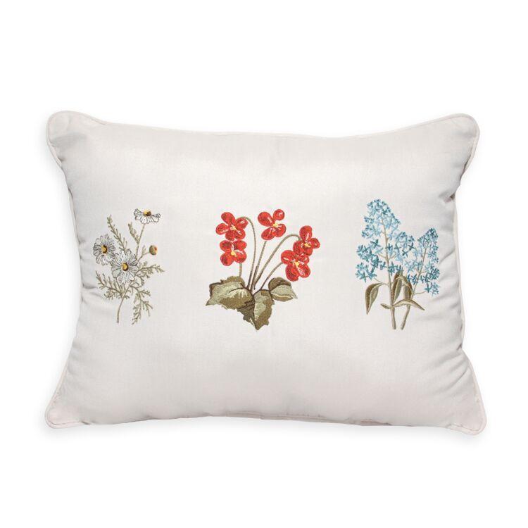 3 Flower Embroidery Indoor/Outdoor Lumbar Pillow