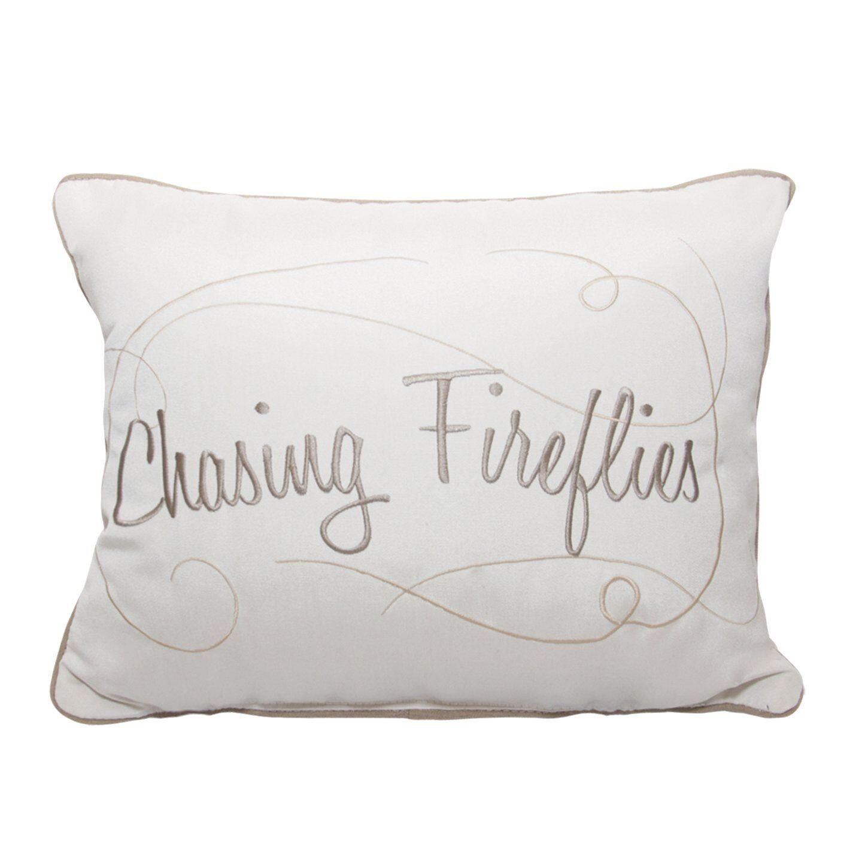 Fireflies Embroidery Indoor/Outdoor Lumbar Pillow