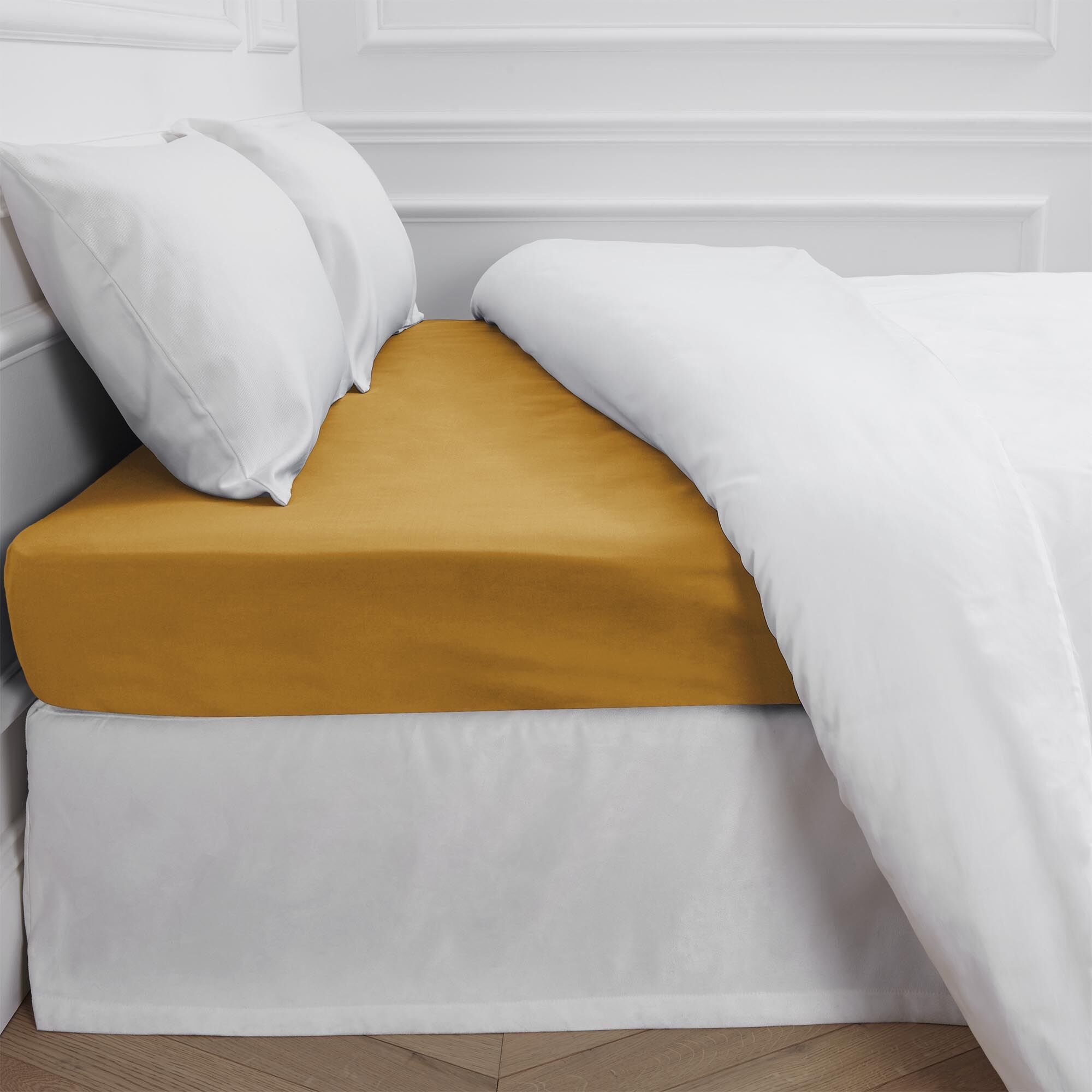 Aurore 300 Thread Count Fitted Sheet Color: Ocher, Size: King