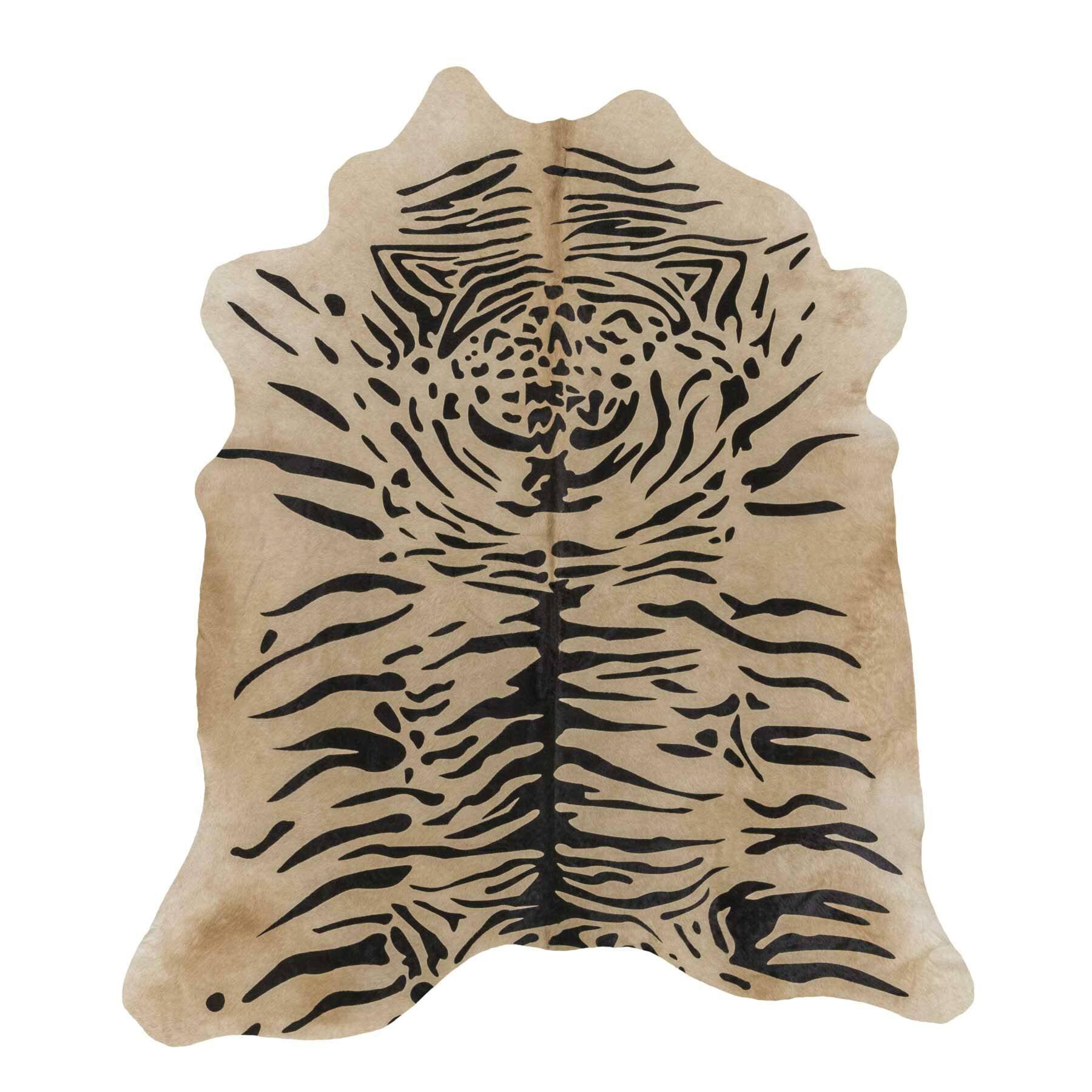 Tiger Print Cowhide Hand-Woven Brown Area Rug