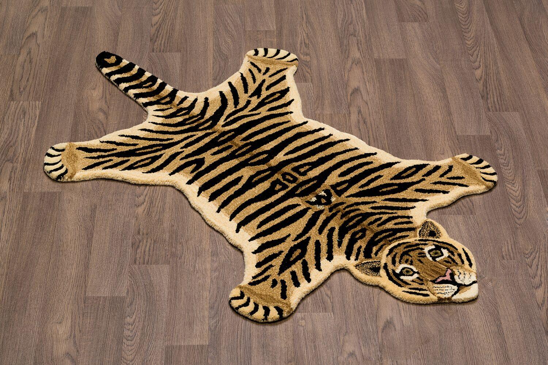 Hewitt Tiger Skin Shape Hand Woven Wool Brown/Black Area Rug