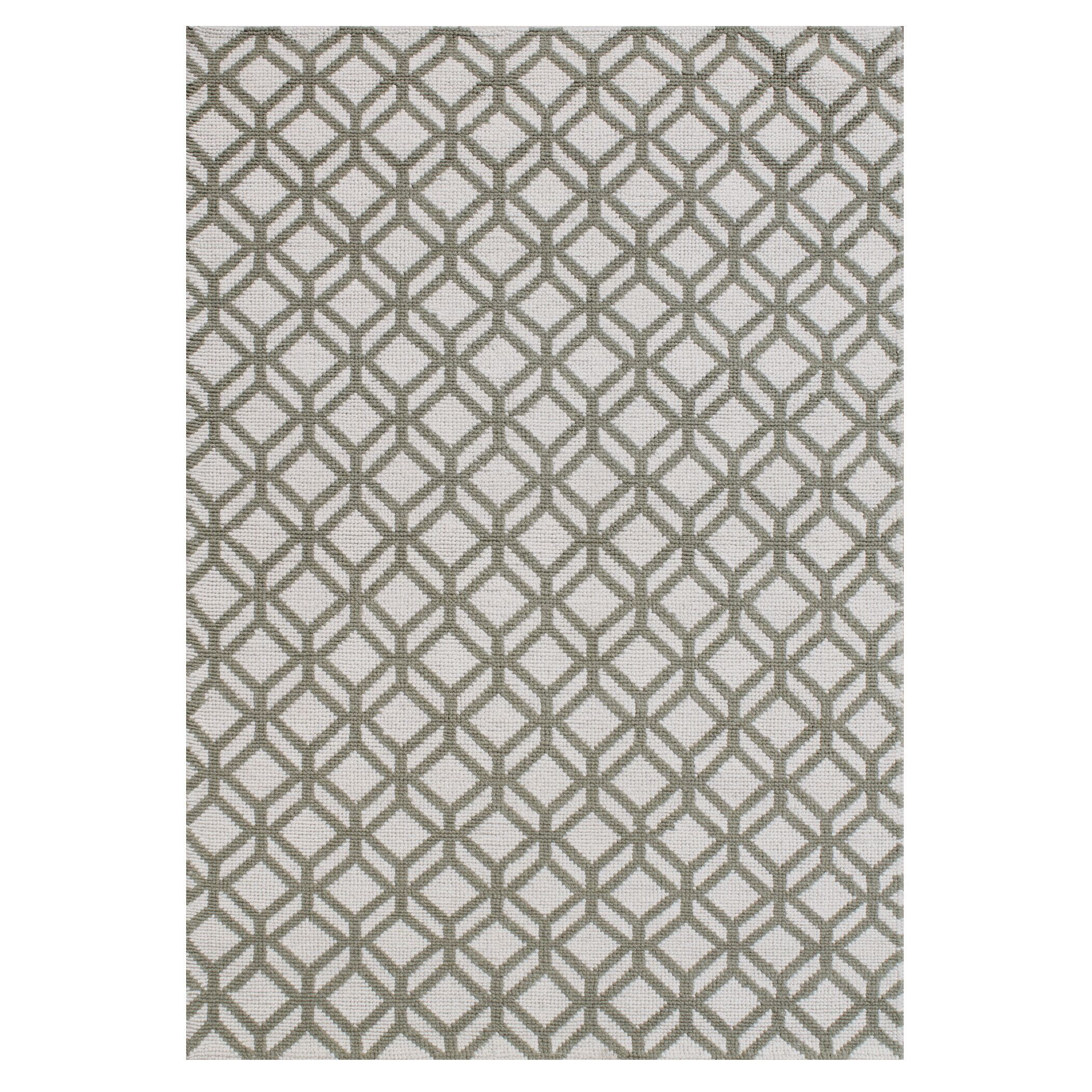 Lexington Avenue Facet Hand Knotted Wool Ivory/Green Area Rug Rug Size: Rectangle 7'6
