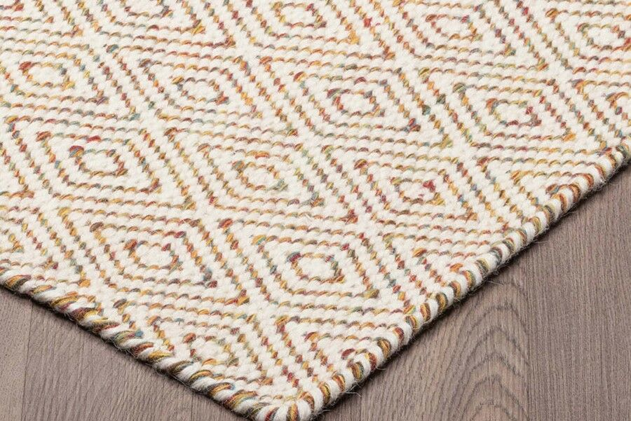 Littleton Diamond Reversible Hand Woven Wool Ivory/Beige Area Rug Rug Size: Rectangle 5' x 8'