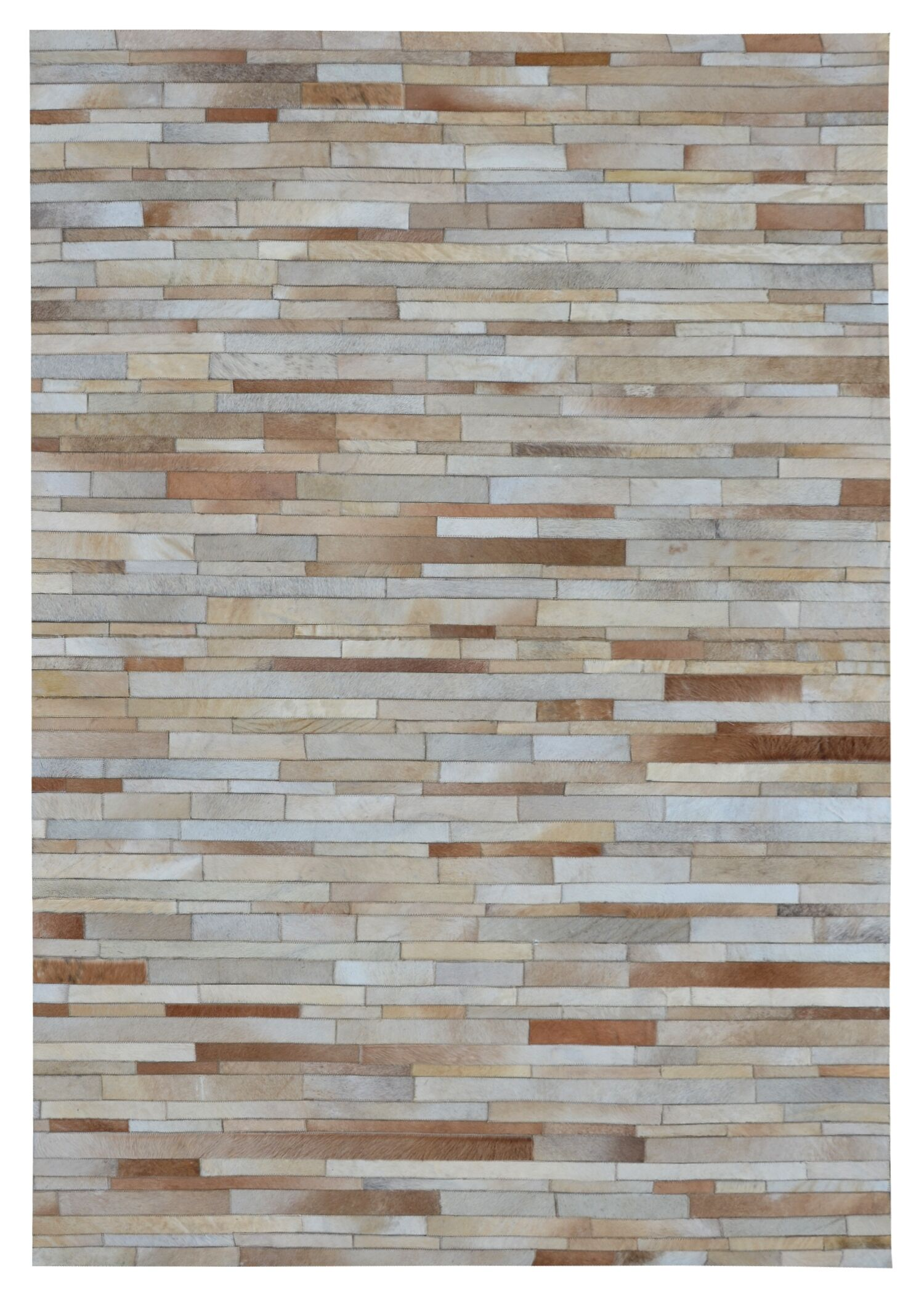 Chantalle Stripes Hand Woven Cowhide Tan Area Rug Rug Size: Rectangle 5' x 8'