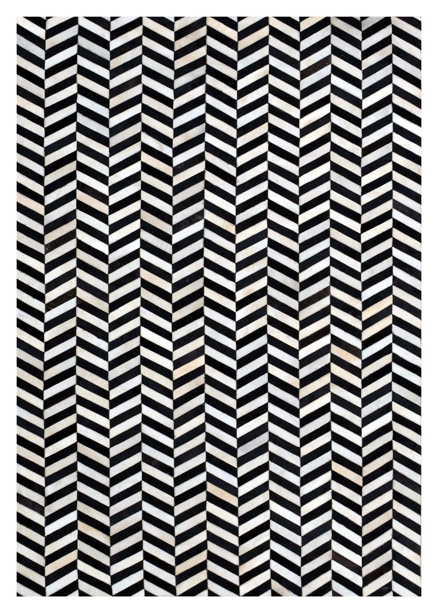 Chantay Chevron Hand Woven Cowhide Black/Ivory Area Rug Rug Size: Rectangle 8' x 10'
