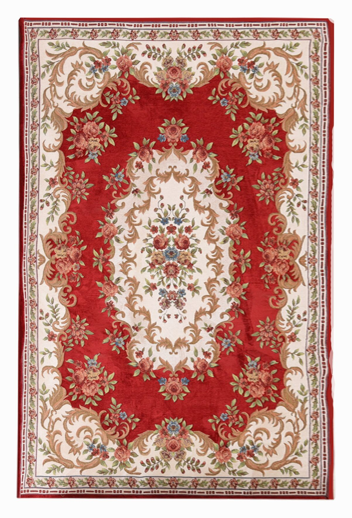 Classic Retro Red/Beige Area Rug Rug Size: Rectangle 4'6
