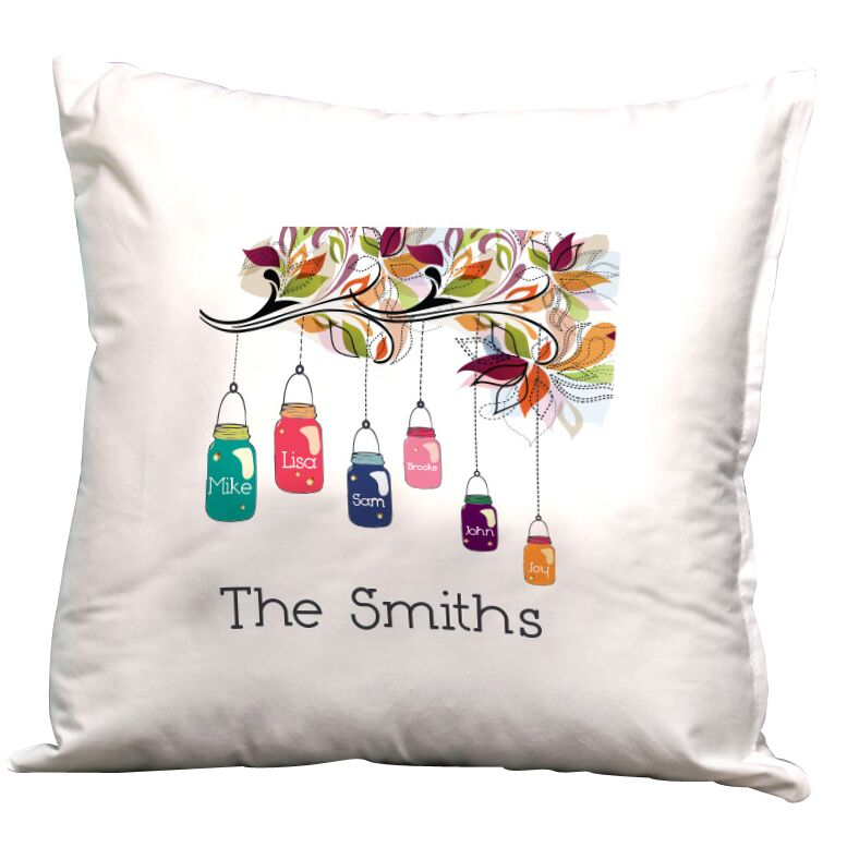Personalized Family Jars Decorative Pillow Cushion Cover
