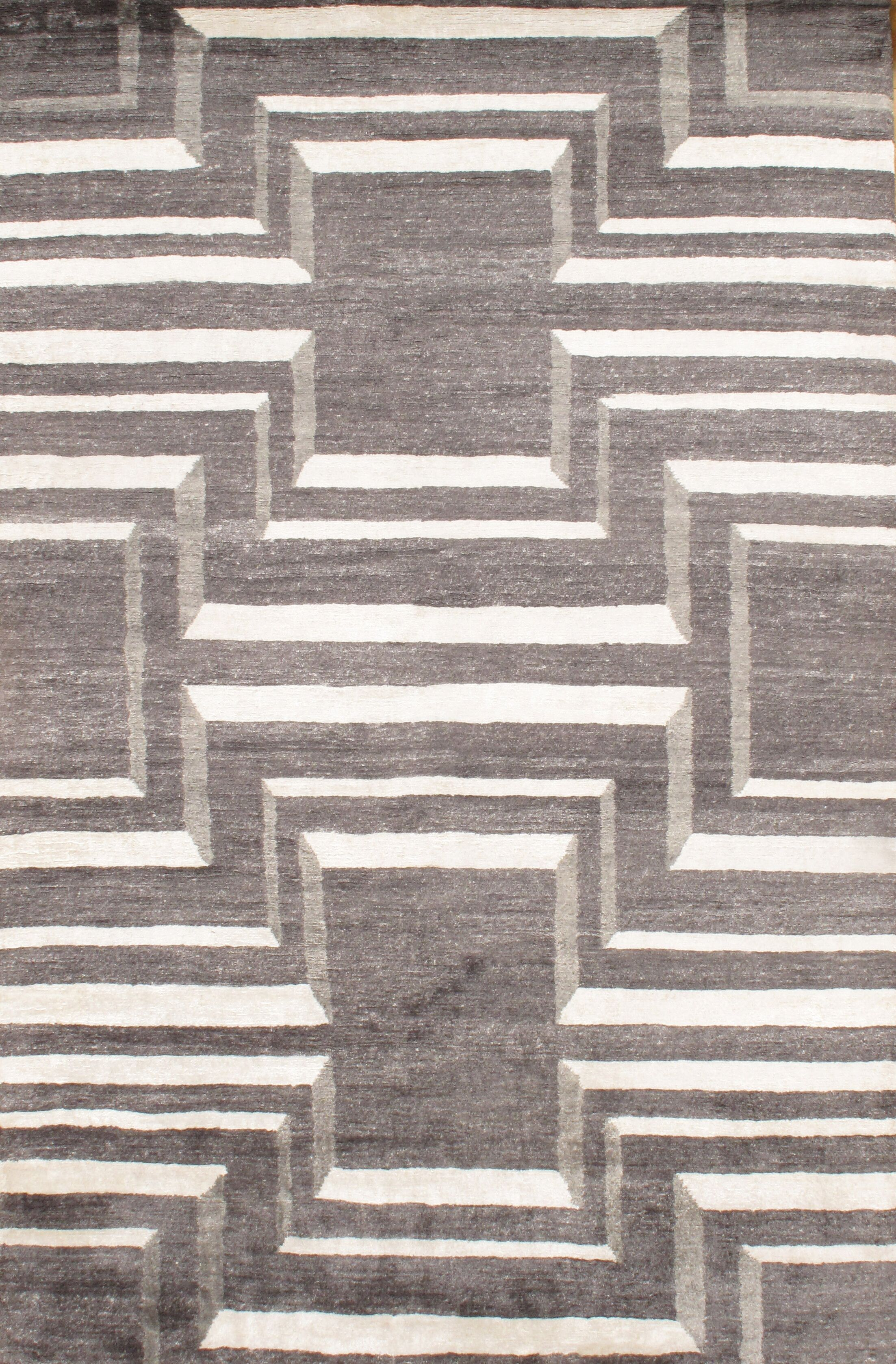 Hand - Knotted Gray Area Rug Rug Size: Rectangle 6' x 9'