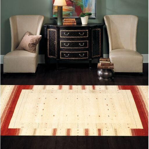 Gabbeh Hand-Knotted Ivory Area Rug