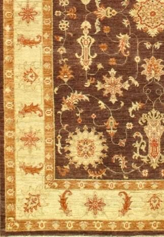Farahan Hand-Knotted Wool Ivory/Rust Area Rug