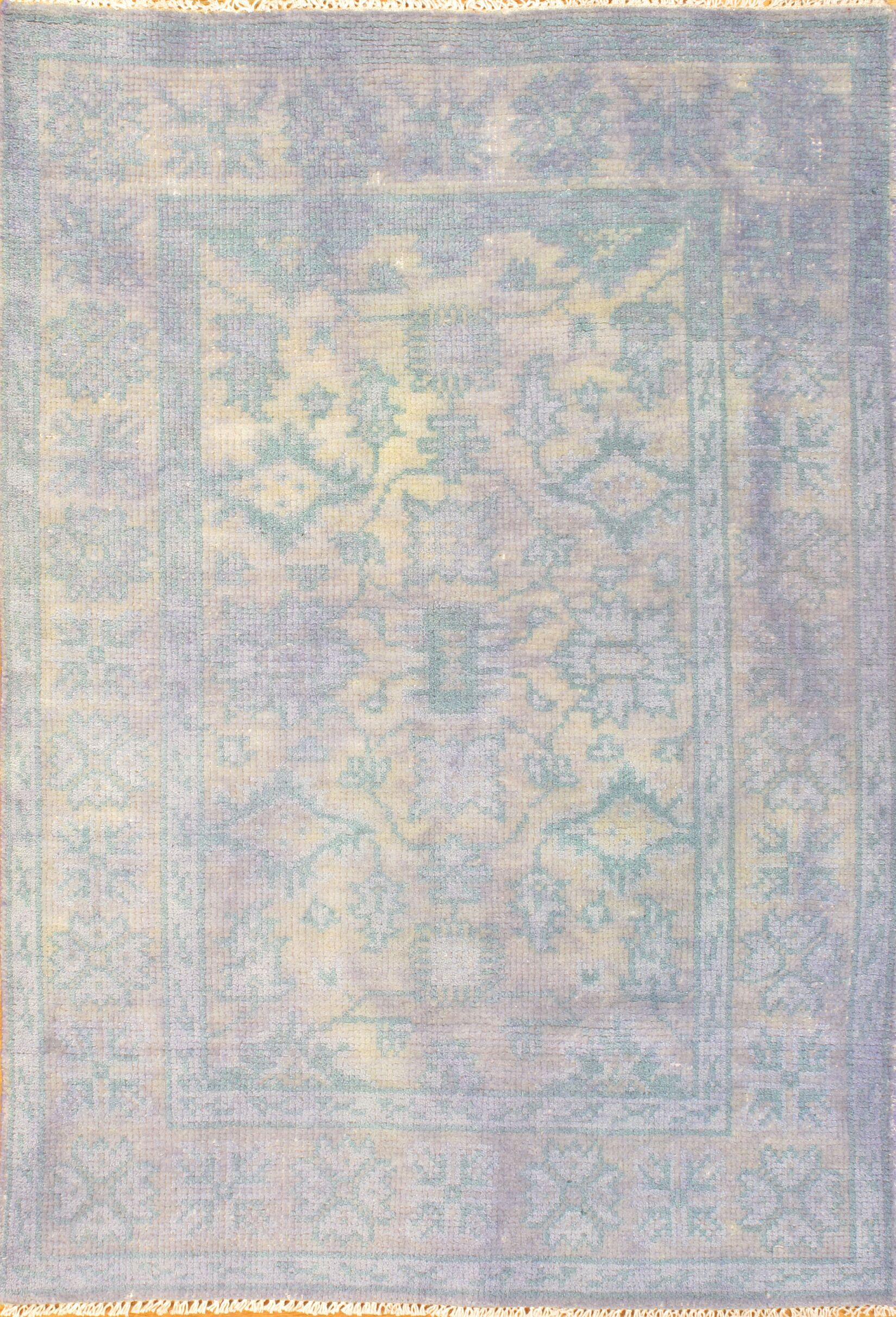 Overdyed Hand-Woven Wool Blue Area Rug