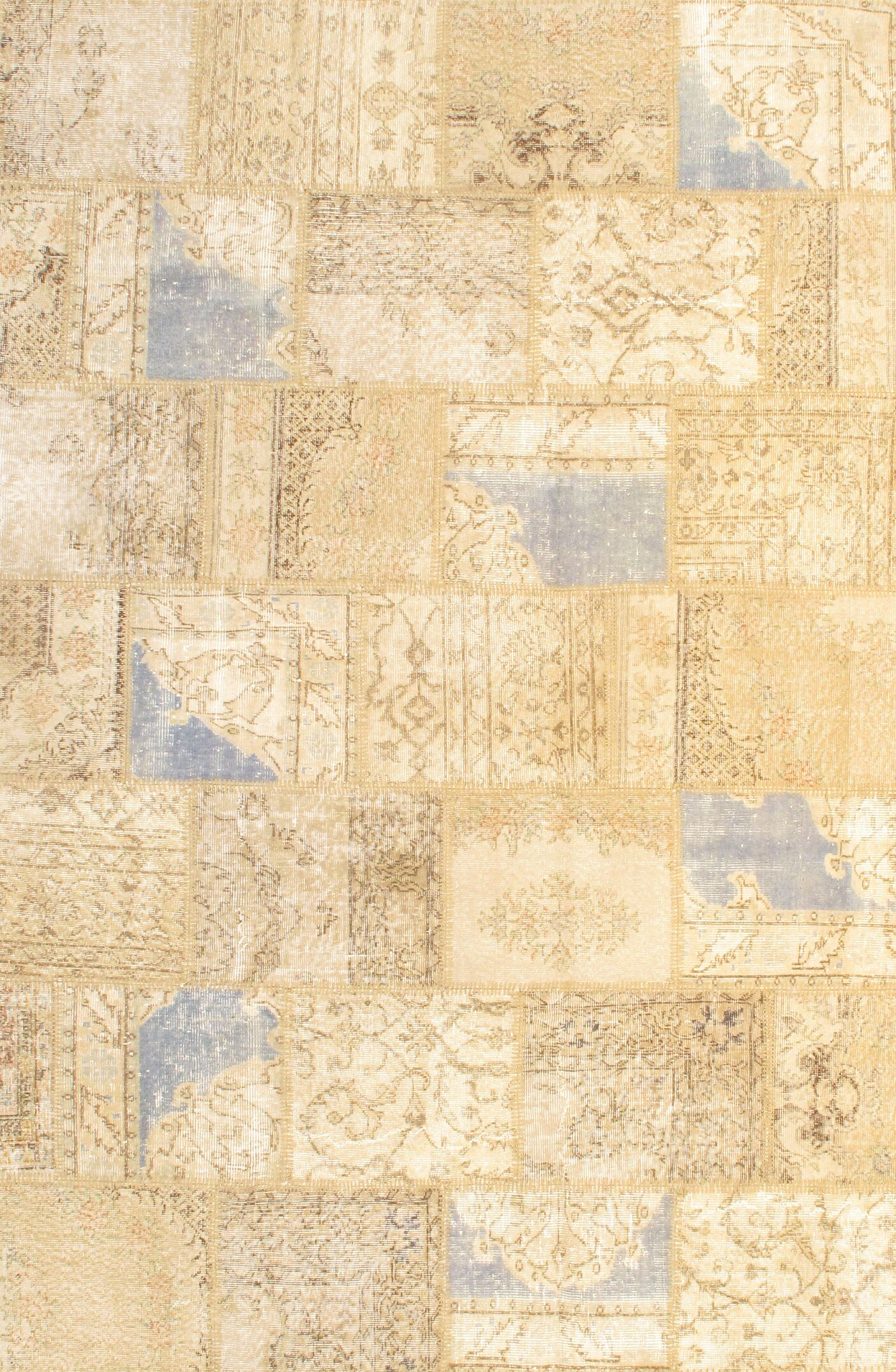 Contemporary Patchwork Hand-Knotted Wool Beige Area Rug