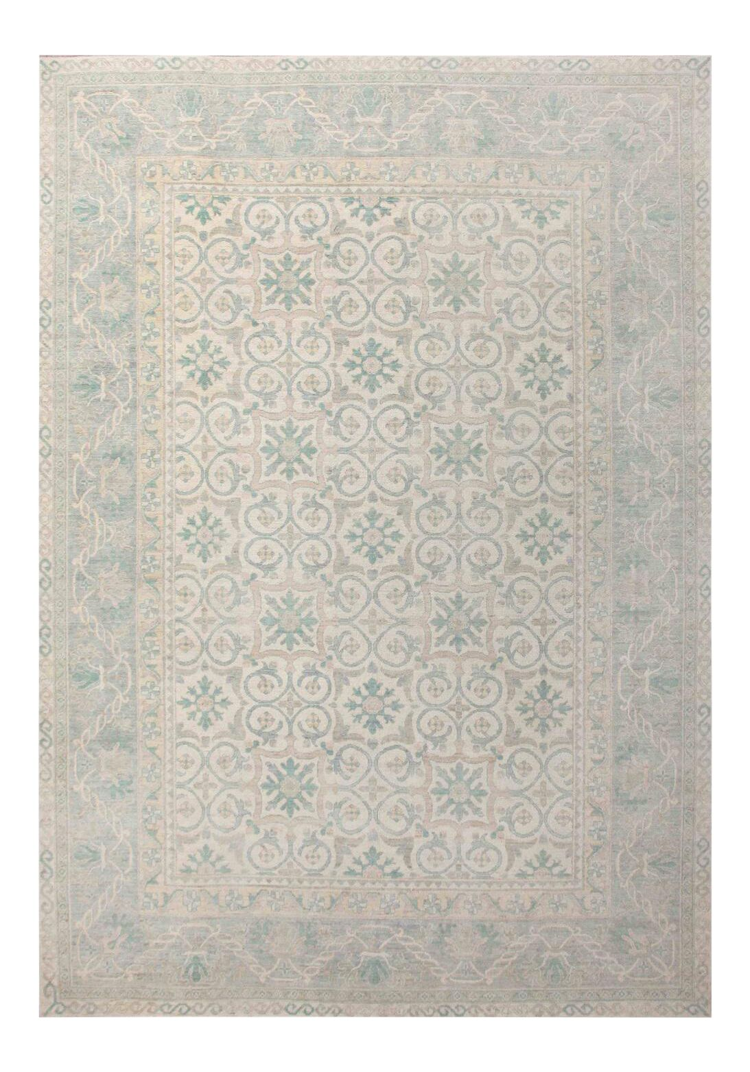 Turkish Oushak Design Hand Knotted Wool Light Blue Area Rug