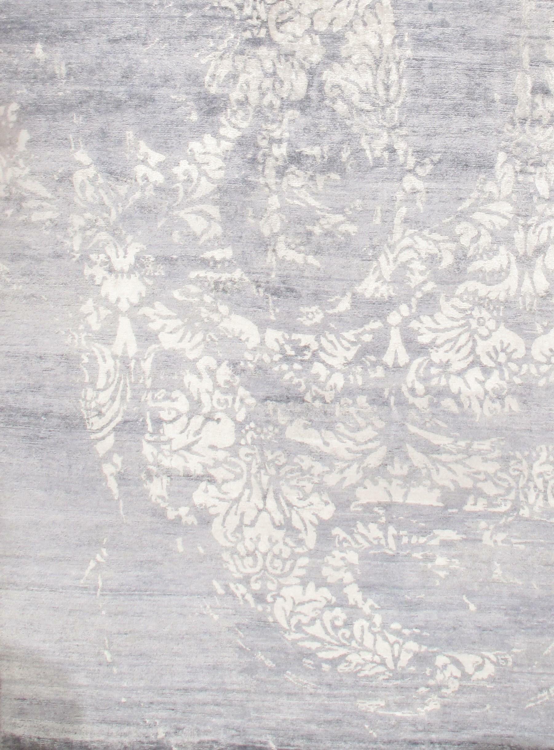 Modern Rayon Hand-Knotted Silk Gray Area Rug