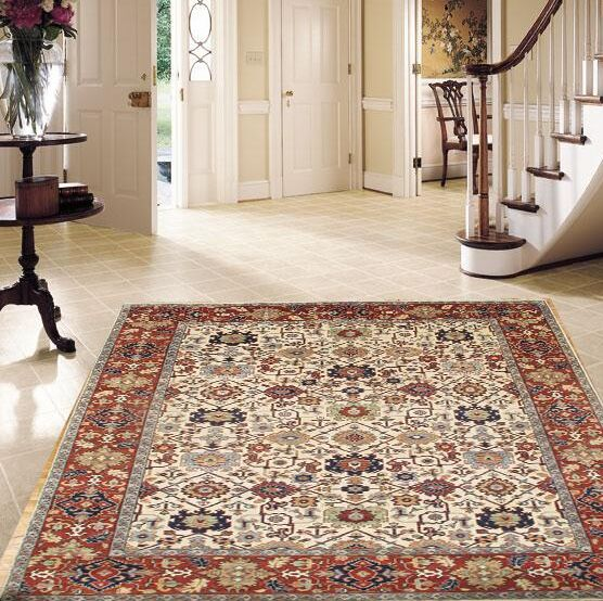 Mahal Hand Knotted Wool Red/Cream Area Rug