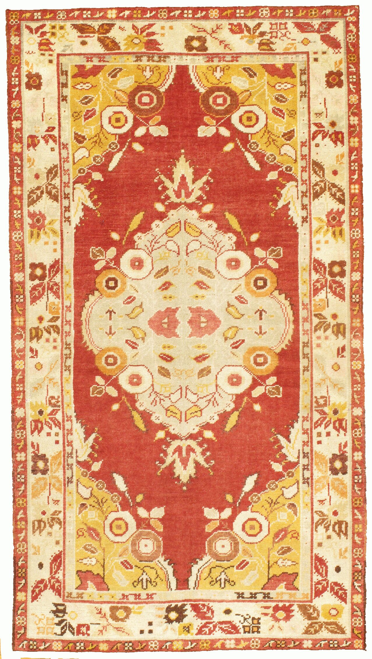 Vintage Oushak Hand-Knotted Wool Red Area Rug