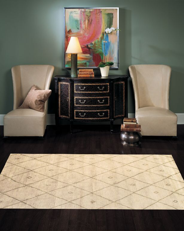 Moroccan Modern Hand-Knotted Wool Ivory Area Rug