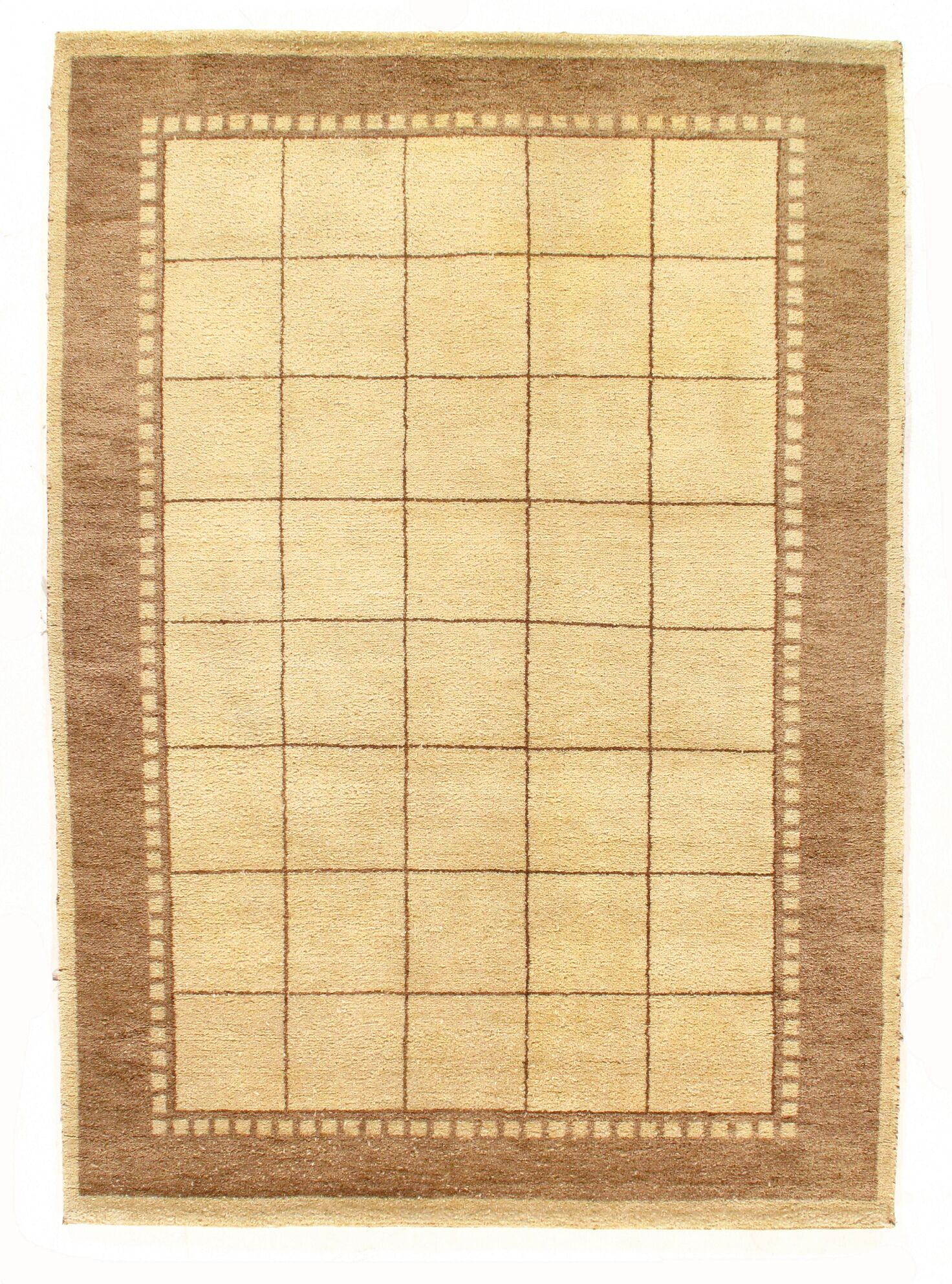 Gabbeh Hand-Knotted Wool Gold Area Rug