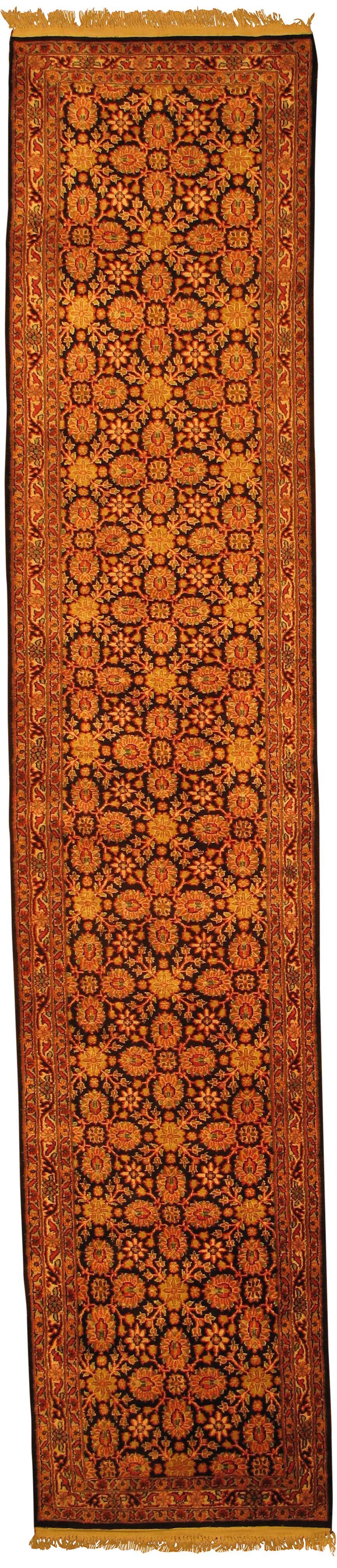 Indo Tabriz Design Kashmir Art Hand Knotted Silk Brown Area Rug